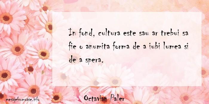 Octavian Paler - In fond, cultura este sau ar trebui sa fie o anumita forma de a iubi lumea si de a spera.