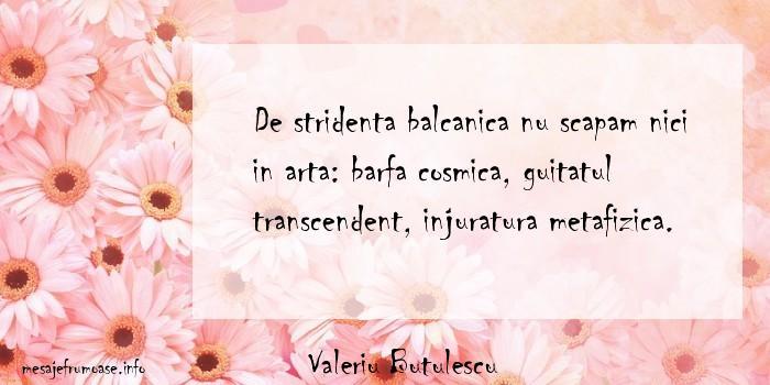 Valeriu Butulescu - De stridenta balcanica nu scapam nici in arta: barfa cosmica, guitatul transcendent, injuratura metafizica.