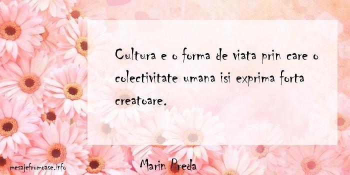 Marin Preda - Cultura e o forma de viata prin care o colectivitate umana isi exprima forta creatoare.
