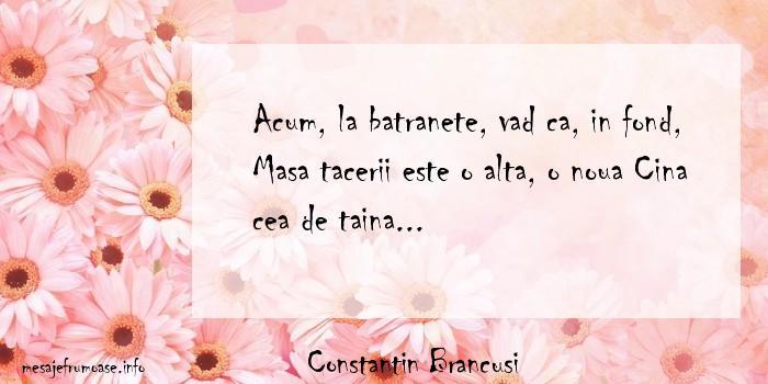 Constantin Brancusi - Acum, la batranete, vad ca, in fond, Masa tacerii este o alta, o noua Cina cea de taina...