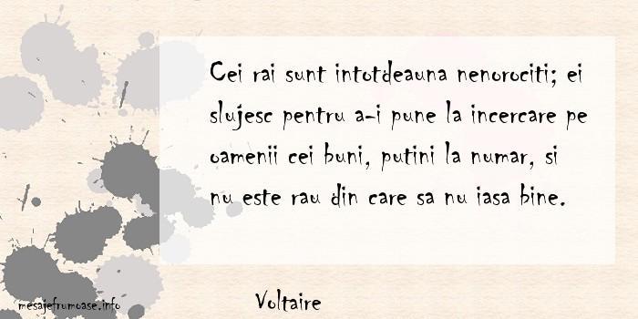 Voltaire - Cei rai sunt intotdeauna nenorociti; ei slujesc pentru a-i pune la incercare pe oamenii cei buni, putini la numar, si nu este rau din care sa nu iasa bine.