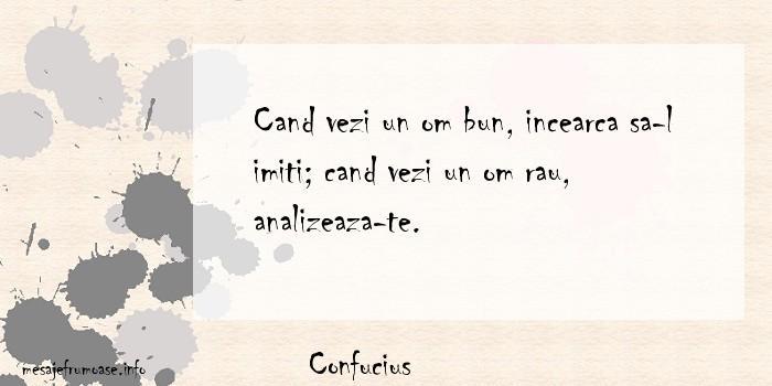 Confucius - Cand vezi un om bun, incearca sa-l imiti; cand vezi un om rau, analizeaza-te.