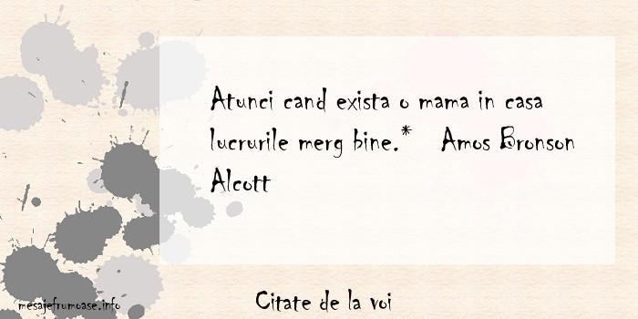Citate de la voi - Atunci cand exista o mama in casa lucrurile merg bine.*   Amos Bronson Alcott