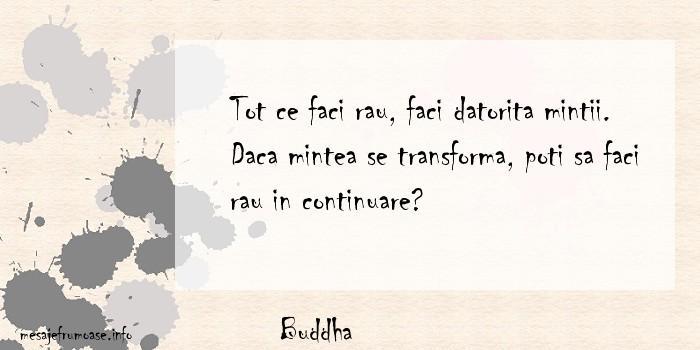 Buddha - Tot ce faci rau, faci datorita mintii. Daca mintea se transforma, poti sa faci rau in continuare?