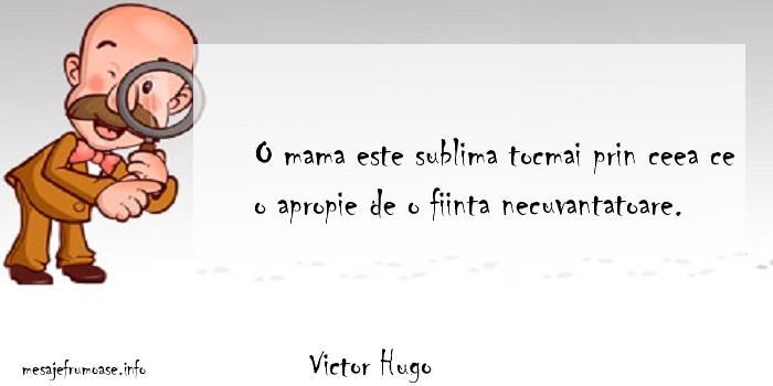 Victor Hugo - O mama este sublima tocmai prin ceea ce o apropie de o fiinta necuvantatoare.