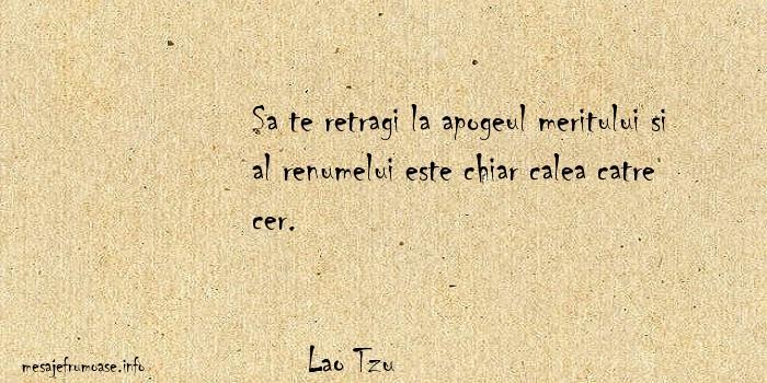 Lao Tzu - Sa te retragi la apogeul meritului si al renumelui este chiar calea catre cer.