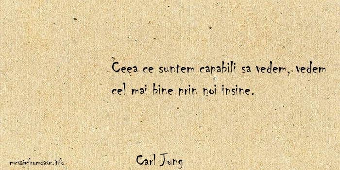 Carl Jung - Ceea ce suntem capabili sa vedem, vedem cel mai bine prin noi insine.