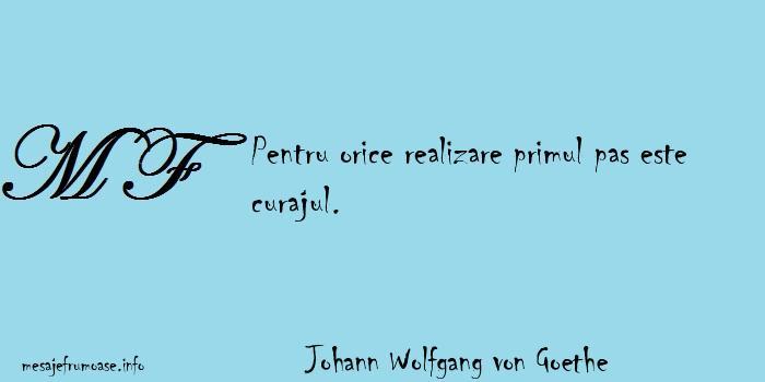 Johann Wolfgang von Goethe - Pentru orice realizare primul pas este curajul.