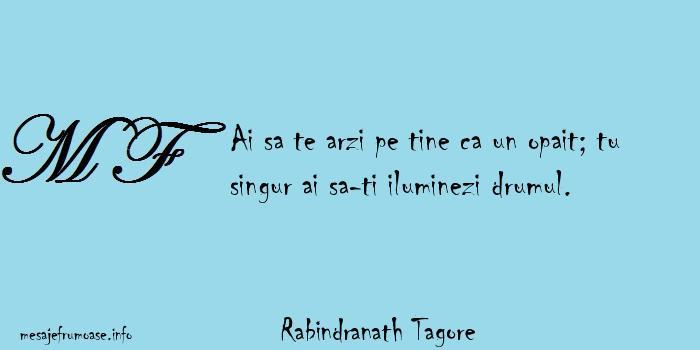 Rabindranath Tagore - Ai sa te arzi pe tine ca un opait; tu singur ai sa-ti iluminezi drumul.
