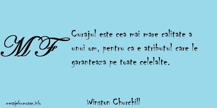 Winston Churchill - Curajul este cea mai mare calitate a unui om, pentru ca e atributul care le garanteaza pe toate celelalte.