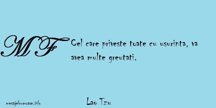 Lao Tzu - Cel care priveste toate cu usurinta, va avea multe greutati.