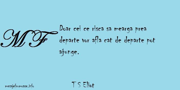 T S Eliot - Doar cei ce risca sa mearga prea departe vor afla cat de departe pot ajunge.