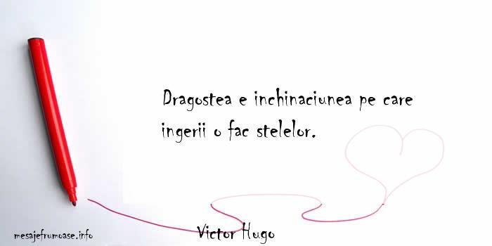 Victor Hugo - Dragostea e inchinaciunea pe care ingerii o fac stelelor.