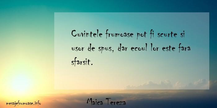 Maica Tereza - Cuvintele frumoase pot fi scurte si usor de spus, dar ecoul lor este fara sfarsit.
