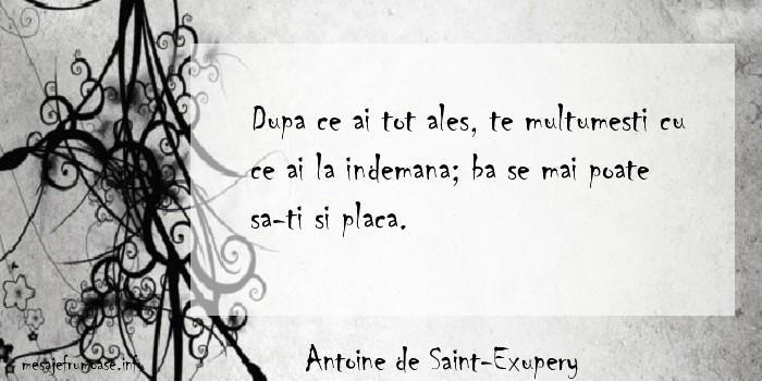 Antoine de Saint-Exupery - Dupa ce ai tot ales, te multumesti cu ce ai la indemana; ba se mai poate sa-ti si placa.