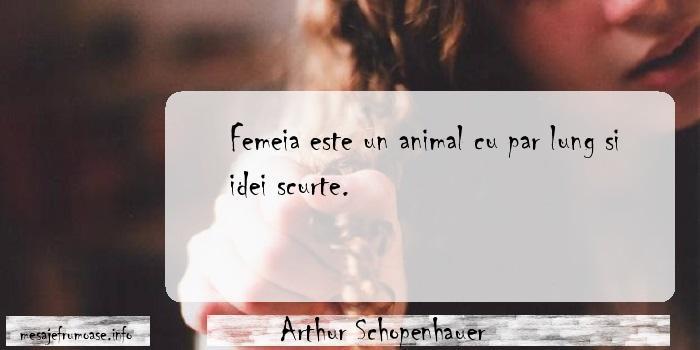 Arthur Schopenhauer - Femeia este un animal cu par lung si idei scurte.