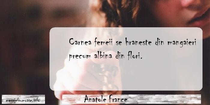 Anatole France - Carnea femeii se hraneste din mangaieri precum albina din flori.
