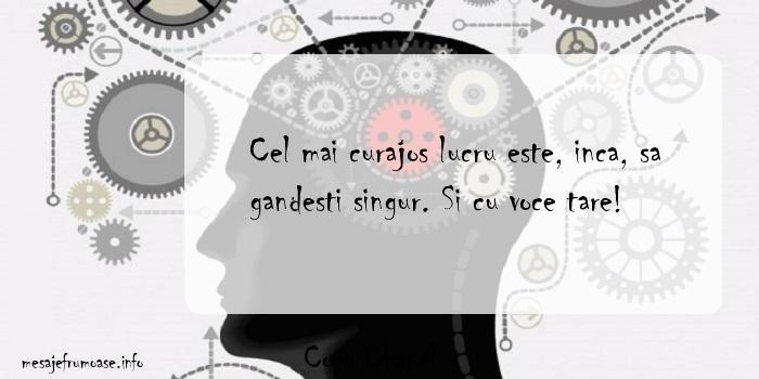 Coco Chanel - Cel mai curajos lucru este, inca, sa gandesti singur. Si cu voce tare!
