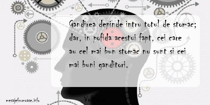 Voltaire - Gandirea depinde intru totul de stomac; dar, in pofida acestui fapt, cei care au cel mai bun stomac nu sunt si cei mai buni ganditori.
