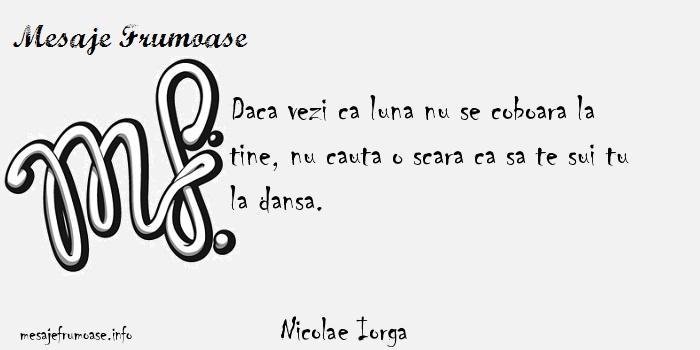 Nicolae Iorga - Daca vezi ca luna nu se coboara la tine, nu cauta o scara ca sa te sui tu la dansa.