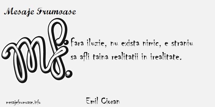 Emil Cioran - Fara iluzie, nu exista nimic, e straniu sa afli taina realitatii in irealitate.