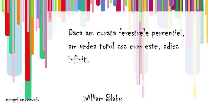 William Blake - Daca am curata ferestrele perceptiei, am vedea totul asa cum este, adica infinit.
