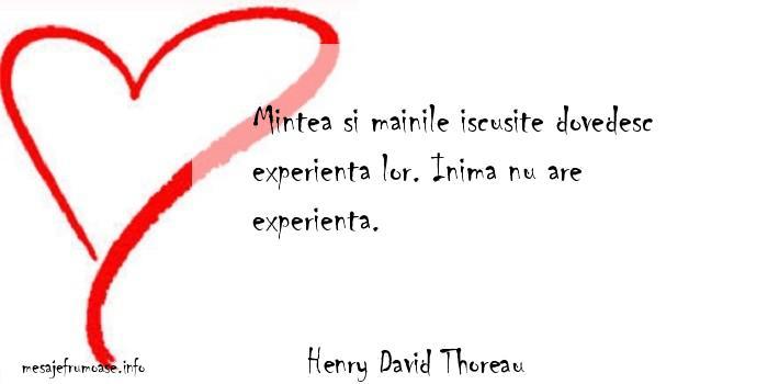 Henry David Thoreau - Mintea si mainile iscusite dovedesc experienta lor. Inima nu are experienta.