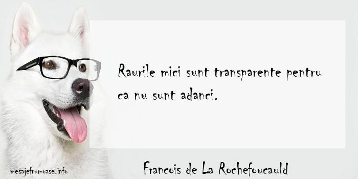Francois de La Rochefoucauld - Raurile mici sunt transparente pentru ca nu sunt adanci.