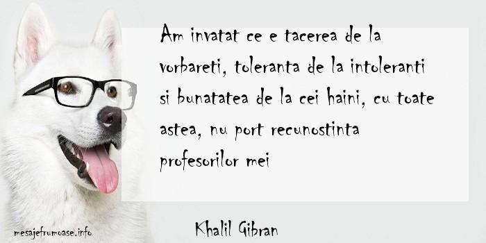 Khalil Gibran - Am invatat ce e tacerea de la vorbareti, toleranta de la intoleranti si bunatatea de la cei haini, cu toate astea, nu port recunostinta profesorilor mei