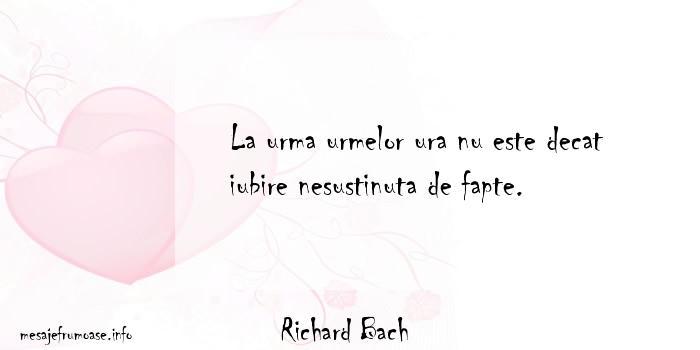 Richard Bach - La urma urmelor ura nu este decat iubire nesustinuta de fapte.