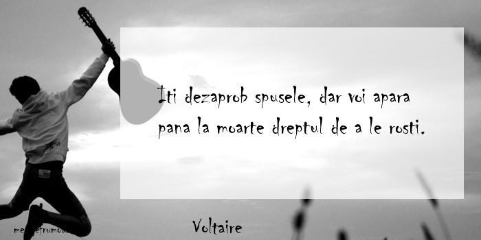 Voltaire - Iti dezaprob spusele, dar voi apara pana la moarte dreptul de a le rosti.