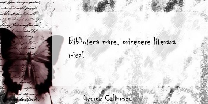 George Calinescu - Biblioteca mare, pricepere literara mica!