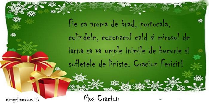 Mos Craciun - Fie ca aroma de brad, portocala, colindele, cozonacul cald si mirosul de iarna sa va umple inimile de bucurie si sufletele de liniste. Craciun Fericit!