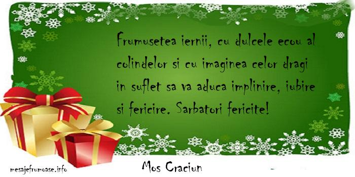 Mos Craciun - Frumusetea iernii, cu dulcele ecou al colindelor si cu imaginea celor dragi in suflet sa va aduca implinire, iubire si fericire. Sarbatori fericite!