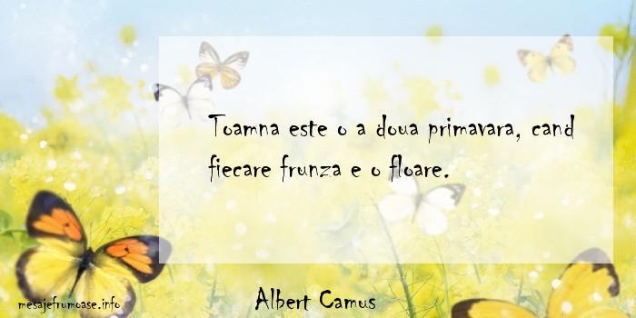 Albert Camus - Toamna este o a doua primavara, cand fiecare frunza e o floare.