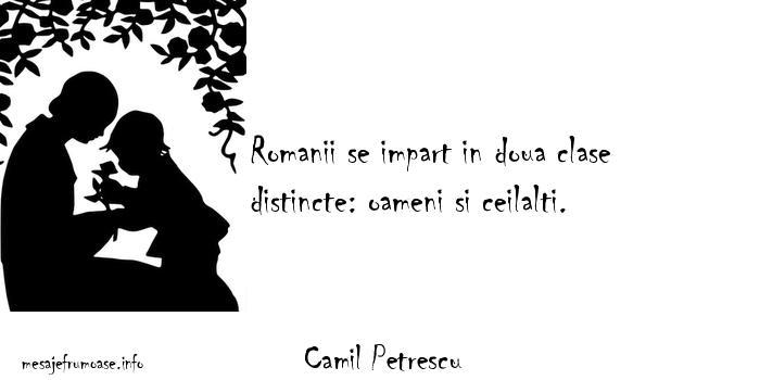 Camil Petrescu - Romanii se impart in doua clase distincte: oameni si ceilalti.