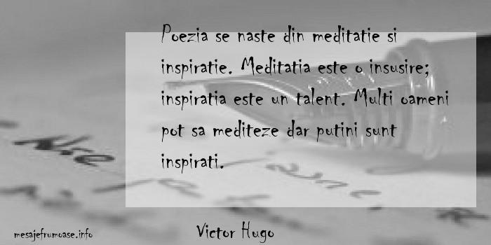 Victor Hugo - Poezia se naste din meditatie si inspiratie. Meditatia este o insusire; inspiratia este un talent. Multi oameni pot sa mediteze dar putini sunt inspirati.