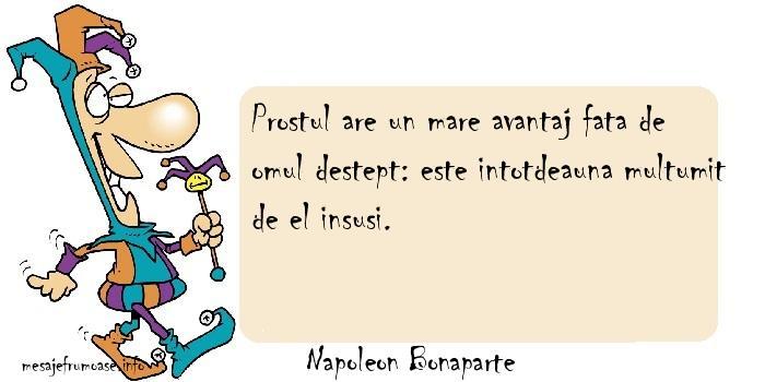 Napoleon Bonaparte - Prostul are un mare avantaj fata de omul destept: este intotdeauna multumit de el insusi.
