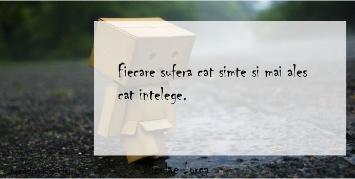 Nicolae Iorga - Fiecare sufera cat simte si mai ales cat intelege.