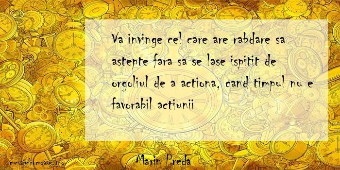 Marin Preda - Va invinge cel care are rabdare sa astepte fara sa se lase ispitit de orgoliul de a actiona, cand timpul nu e favorabil actiunii