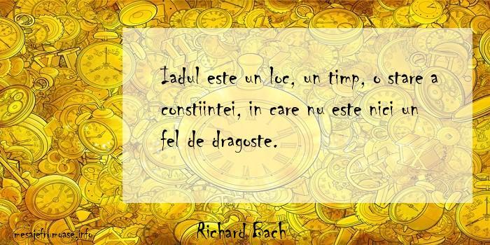 Richard Bach - Iadul este un loc, un timp, o stare a constiintei, in care nu este nici un fel de dragoste.