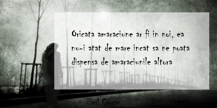 Emil Cioran - Oricata amaraciune ar fi in noi, ea nu-i atat de mare incat sa ne poata dispensa de amaraciunile altora