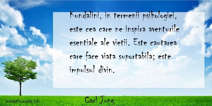 Carl Jung - Kundalini, in termenii psihologiei, este cea care ne inspira aventurile esentiale ale vietii. Este cautarea care face viata suportabila; este impulsul divin.