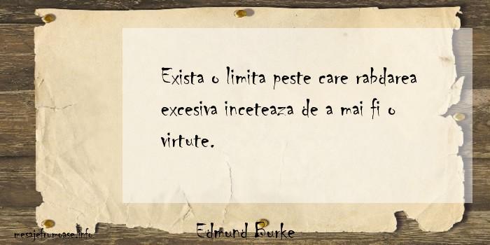 Edmund Burke - Exista o limita peste care rabdarea excesiva inceteaza de a mai fi o virtute.